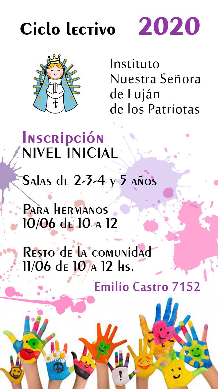 Instituto Nuestra Señora de Luján de los Patriotas - Vacantes Ciclo Lectivo 2020