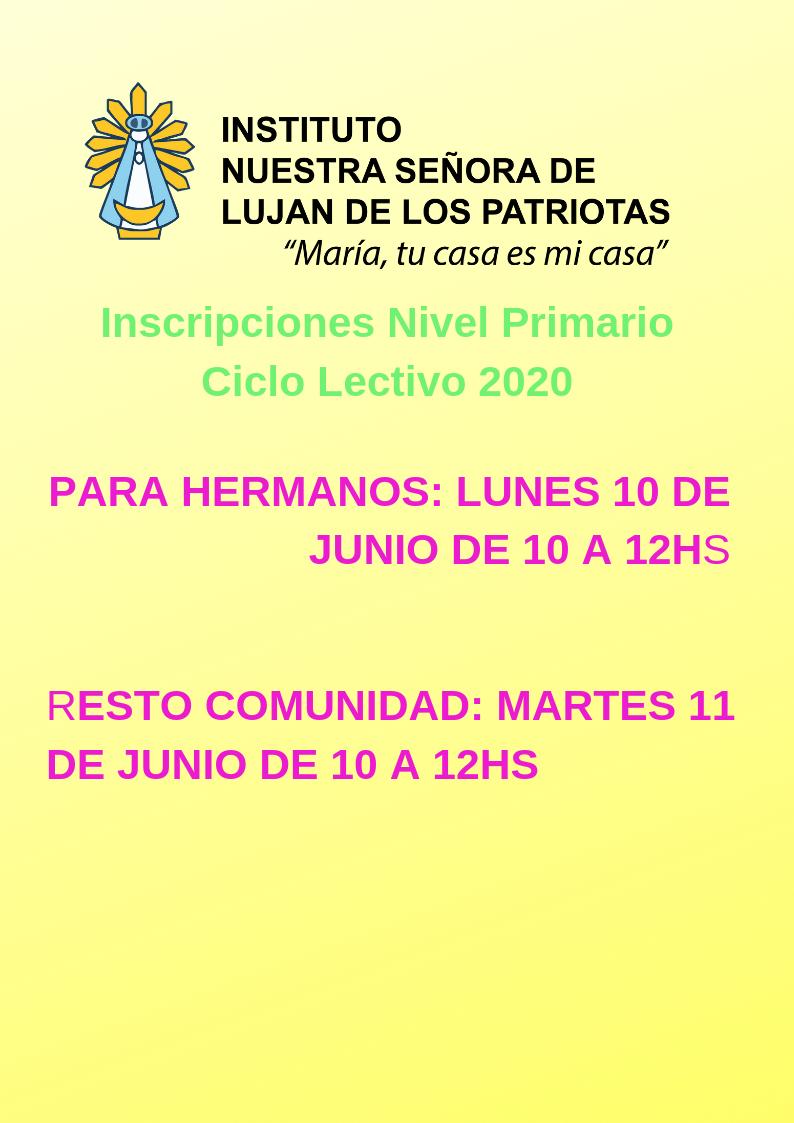 Nuestra Señora de Luján de los Patriotas - Inscripciones Nivel Primario